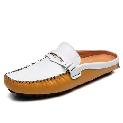 Summer Shoes Casual Mens Loafers Leather Half Slipper Breathable Slip on Lazy Driving Shoes Men