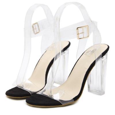 Summer Women High Heels Sandals Female Buckle Strap Crystal Transparent Shoes Lady Heels Pumps