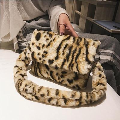 New Women Winter Faux Fur Shoulder Bag  Handbag Lady Leopard Print Handbag Female Party Small Girls Tote Bag Christmas Gift