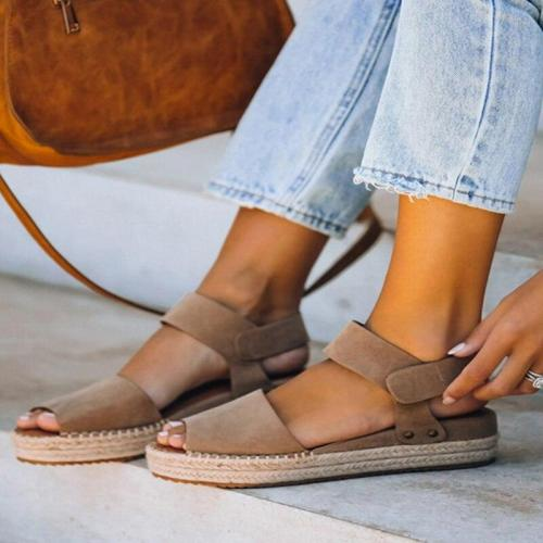 Ladies Summer Flat Platform Sandals Slippers Peep Toe Solid Wedges