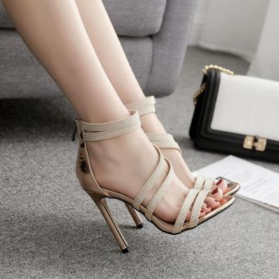 Women Summer 11cm High Heels Sandals Lady Glitter Crystal Gold Pumps Female Footwear Strap