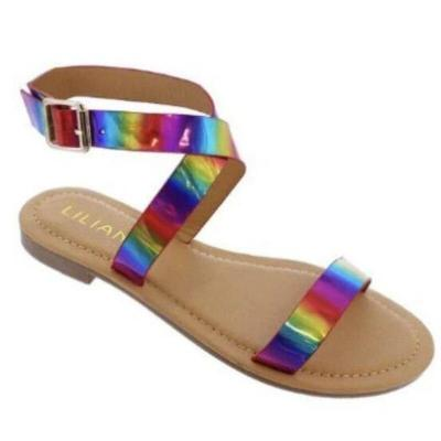 Summer Women Ankle Strap Rainbow Color Flat Heels Buckle Peep Toe Platform