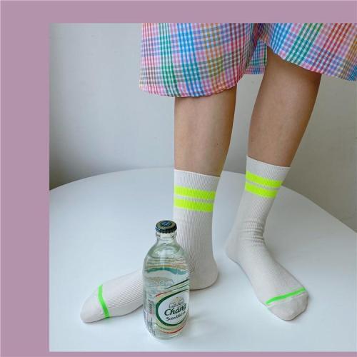 New Street Fashion Hip Hop Socks Summer Cool Girls Bright Yellow Pink Neon Color Crew Socks Casual Womens Striped Short Sox