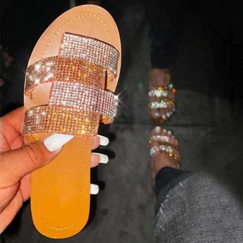 Women Rhinestones Hit Color Open Toe Slip On Flat Heel Slippers