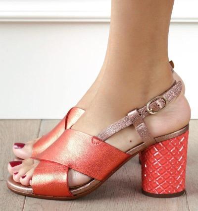 Women Cross Strap Chunky Heel Sandal Thick High-Heeled Flip Flop Open Toe Sandals