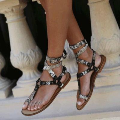 Women Gladiator Sandals Summer Platform Flat Cross Tie Metal Ring Ankle Strap Fashion