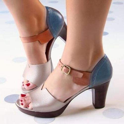 Chunky Heel Women Sandals Summer Women Shoes Ankle Strap Elegant Ladies Shoes