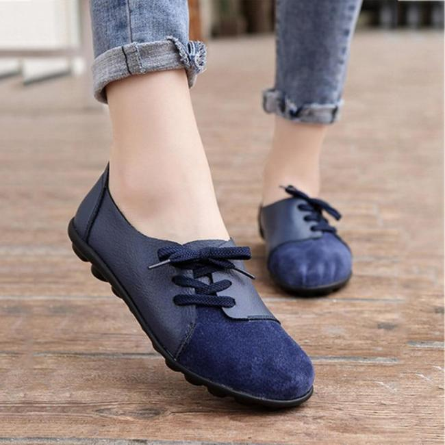 Leather Women Loafers Plus Size Ballet Flats Women Fashion Comfortable Spring Summer Soft Casual Shoes Ladies