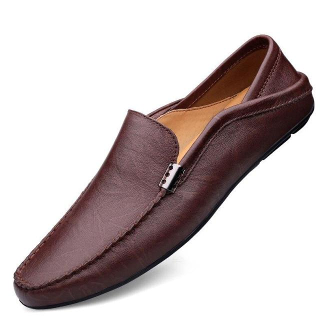 Mans Boat Shoes Fashion Leather Shoe Slip on Summer Male Moccasins Genuine Leather Clax Men's Flats Breathable