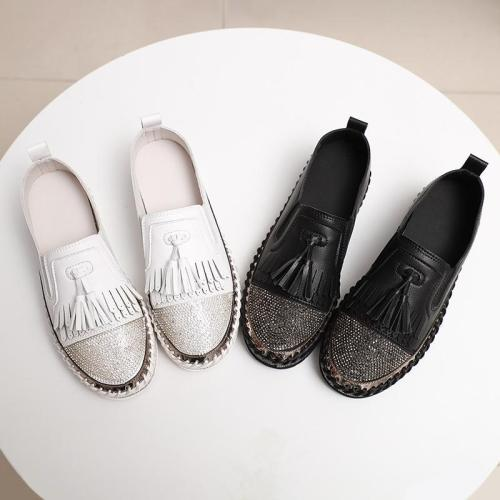 Women Fashion Shining Rhinestone Slip-on Loafers with Tassel