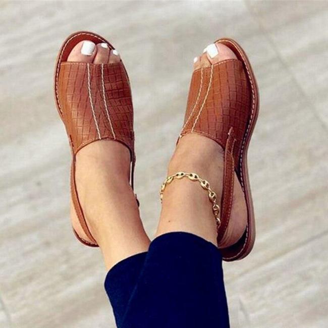Summer Women Sandals Woman Flats Ladies Fashion Rome Sewing Footwear Open Toe Women's Shoes Plus Size