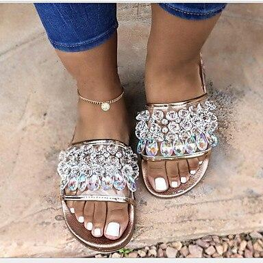 Women Rhinestone Decoration Slippers Fashion Shoes Women Summer Flat with Casual Footwear Ladies Beach Vacation Slippers