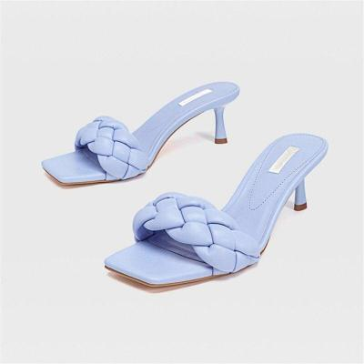 Design Weave Women Slipper Ladies Thin Heels Sandal Open Toe Summer Outdoor Slides female Flip Flop Shoes