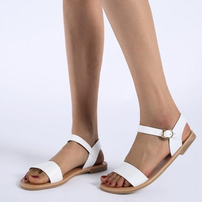 Women's Sandals Solid Color PU Leather Sandals Women Fashion Rome Style Summer Women Shoes Women Shoes