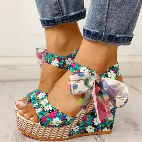 Women Summer Wedge Sandals Female Floral Bowknot Platform Bohemia High Heel Sandals Fashion Ankle Strap