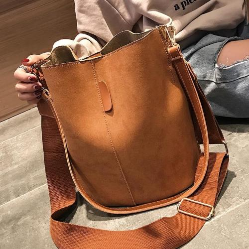 Bag Women Bucket Shoulder Bag Large Capacity Vintage Matte PU Leather Lady Handbag