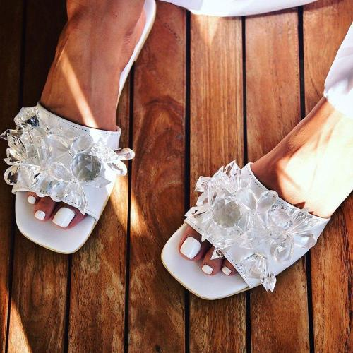 Toe Ring Flat With Slip-On Beads Casual Slippers
