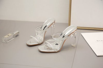Fashion Silver Transparent Diamond Crystal Slipper Summer Open Toe Clear Perspex High Heels Sandals Party Shoes
