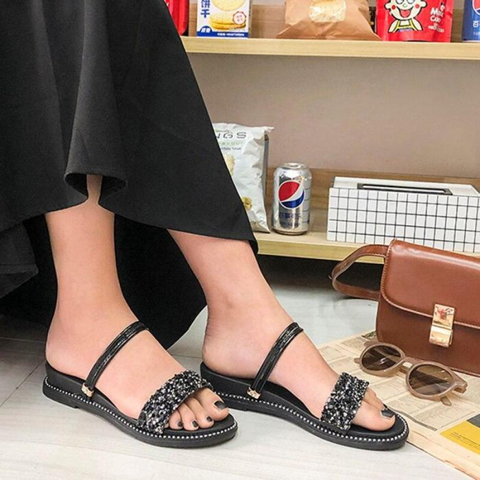 Fashion Sequins Square Heels Sandals Women Summer Open Toe Slippers Woman Casual