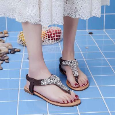 Flat Heel Thong Women Sandals Rhinestone Sequins Flip Flops Elastic Band Beach Sandals