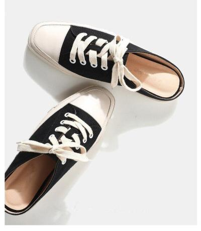 Cloth Shoes Casual Fashion Women's Canvas Flat Shoes Breathable Square Toe Canvas Shoes Big Size