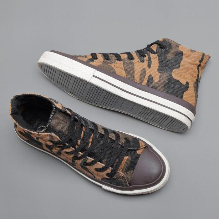 Spring New Men's High-top Canvas Shoes Fashion Vulcanized Shoes Round Toe Trend Tie Sneaker Rubber Men Boots