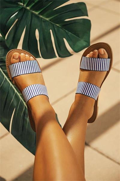 Women Stripe Circle Dot Summer Shoes New Women Sandals Ladies Large Size Andals Flat Female Beach Shoes Sandals
