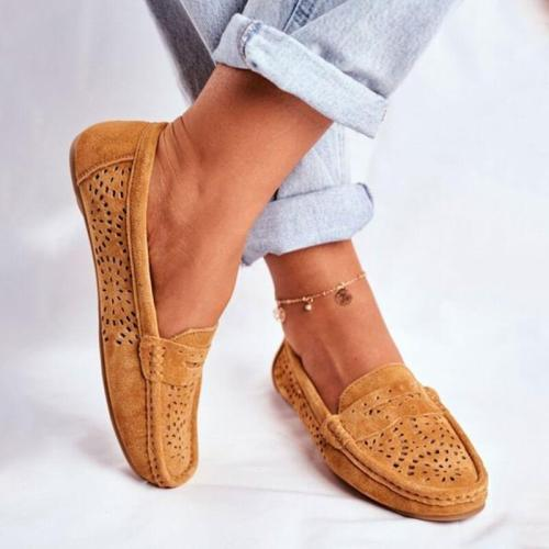 Women Casual Hollow-out Slip On Flat Heel Loafers
