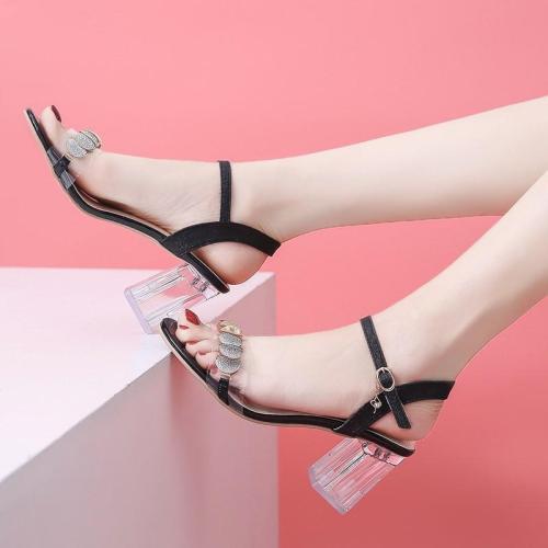 Chunky Heel Sandals Women's Summer New Women's Sandals Transparent