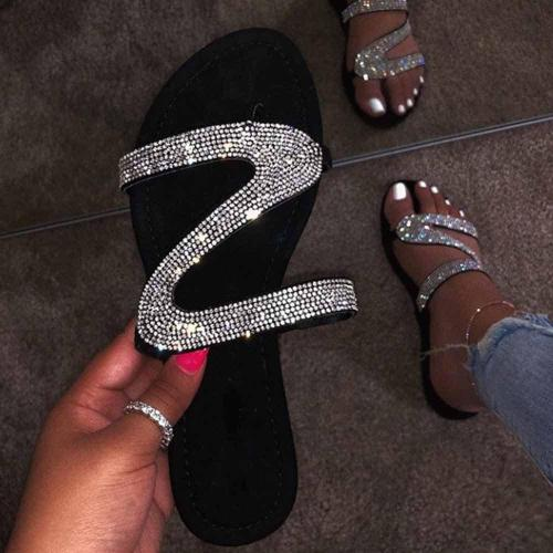 Slip-On Rhinestone Flat With Flip Flop Beach PVC Slippers