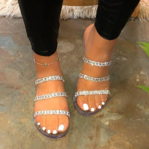 Rhinestone Flip Flop Slip-On Flat With Summer Slippers