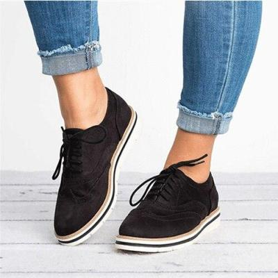 Lace Up Women Flats Breathable Spring Autumn Sneakers Oxford Shoes Female Fashion Plush Size Leather Casual Women Shoes