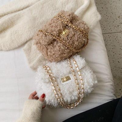 Elegant Female Square Crossbody Bag Winter New Quality Soft Plush Women's Designer Handbag Chain Shoulder Messenger Bag