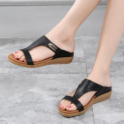 Sandals Bohemian National Style Slippers Flat Round Head Roman Sandals Shoes for Women