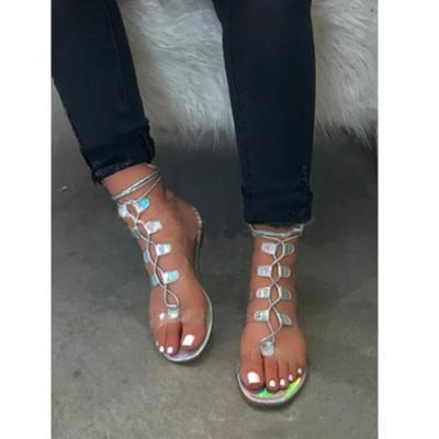 Women Sandals Fashion Sexy Transparent Straps 2020 Summer New Outdoor Beach Flat Women Shoes Plus Size 34-43