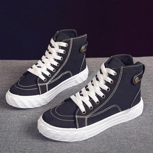 High-top Black Canvas Women's Sneakers Fashion Simple Joker Trend Leisure Wear-resistant Flat Shoes