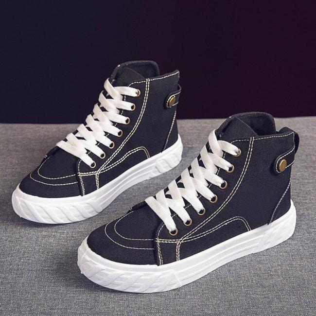 High-top Black Canvas Women's Sneakers Fashion Simple Joker Trend Leisure Wear-resistant Flat Shoes