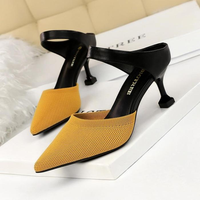 Summer Slippers High Thin Heel Pointed Toe Fashion Sexy Ladies Women Shoes Mules Slides