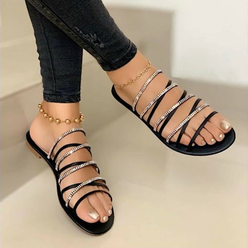 Women Summer Beach Sexy Bling Slides Narrow Band Flat Slippers Female Footwear Fashion Casual Ourdoor Ladies Slide