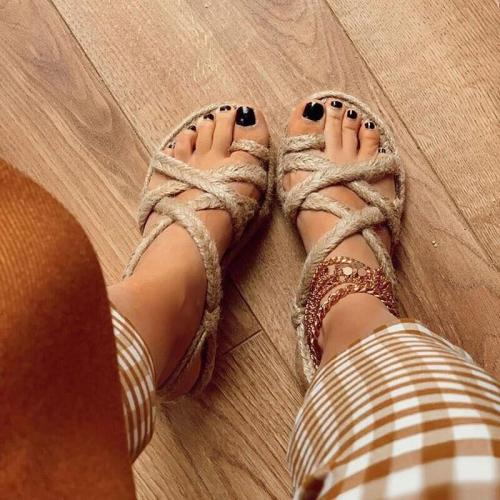 Women Linen Weave Flat For Women High Heels Sandals Summer Shoes Flip Flop Platform Sandals