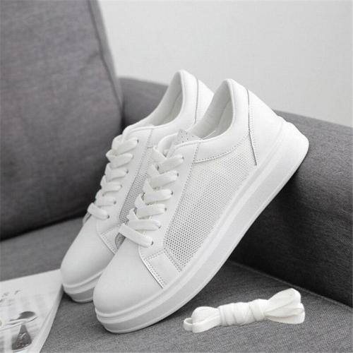 White Sneakers Women's Comfort Flat Breathable Casual Shoes Outdoor Girl Lace-Up Walking Shoes