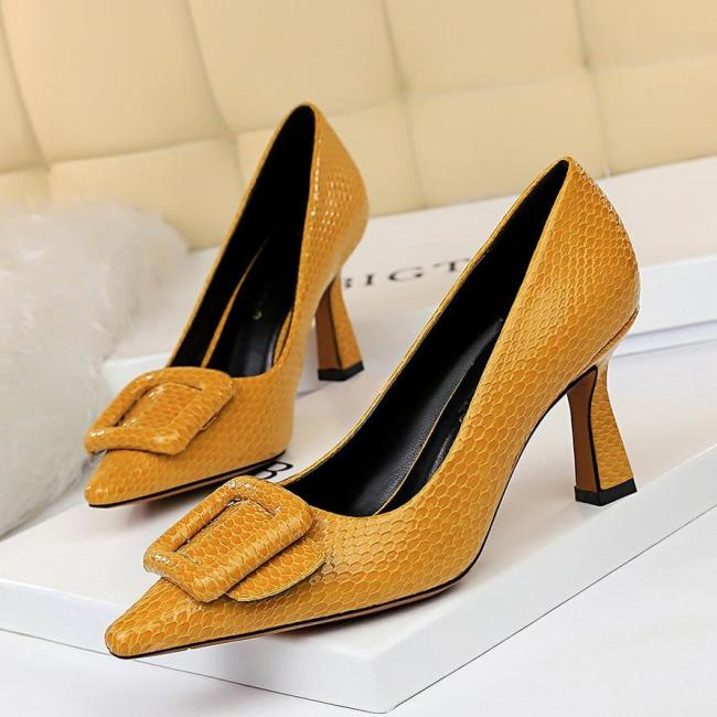 Pointed Toe Pumps Women Snakeskin Prom High Heels Sexy Low Heels Party Casual Shoes