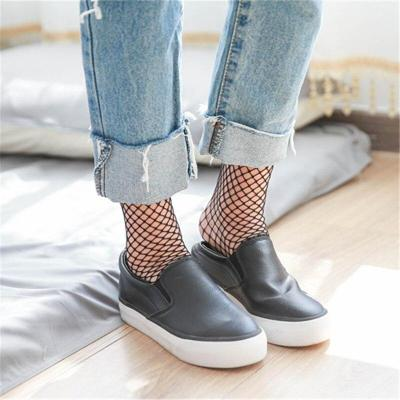 Chic Streetwear Women's Black Breathable  Knee Length Mid Calf Fishnet Socks Sexy Hollow Out Nets Socks Ladies Mesh Sox