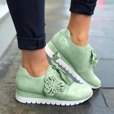 Floral Women Casual Lace-up Sneakers Wedges Running Shoes