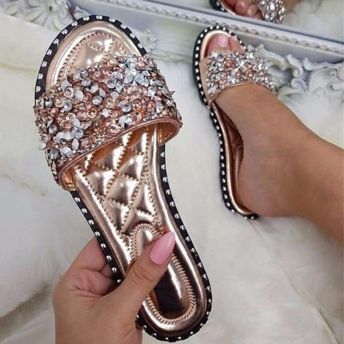 Slip-On Rhinestone Flat With Flip Flop Casual Color Block Slippers