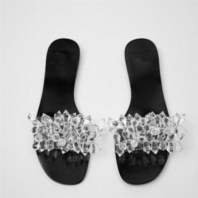 Summer 2020 New Style Women Shoes Fashion Pearl Flat Bottom Outdoor Beach Shoes Plus Size