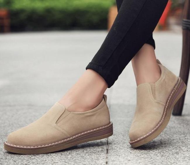 Flats Sneakers Shoes Women Slip on Flat Loafers Suede Leather Shoes Handmade Boat Shoes Black Oxfords