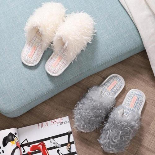 Faux Fur Women Indoor Fashion Style Autumn Winter Shoes Woman Home Slides Anti-slip Female Floor Slipper