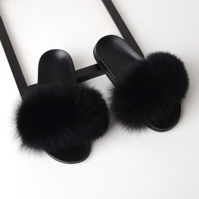 Indoor Slippers Women Fur Slides Home sleepers Flat Sandals Female Cute Fluffy House Shoes