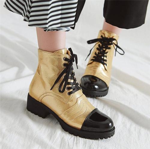 Women's New Stitching Low Heel Short Boots